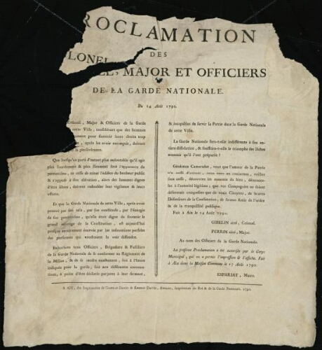 Proclamation des colonel, major et officiers de la Garde nationale. Du 14 août 1790 / [Mairie d'Aix]